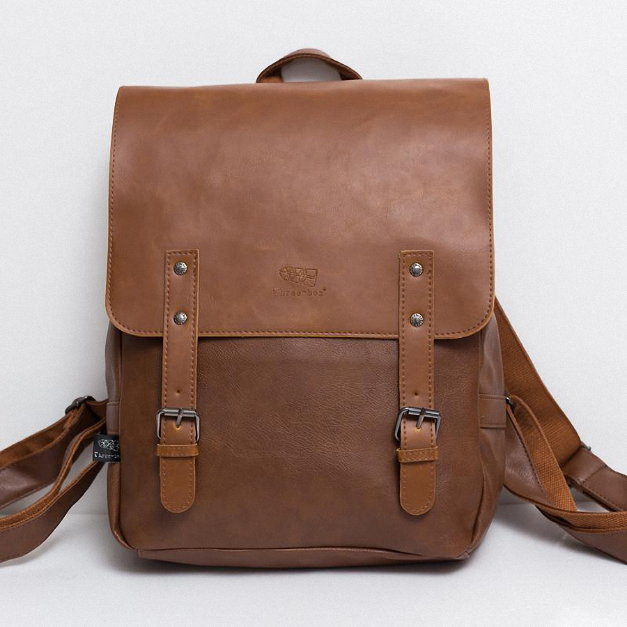 ФОТО  England Vintage Style PU Leather Men Backpacks College Preppy School for 14 inch laptop bags