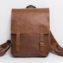 "Vintage PU Leather Men Leisure Backpacks Preppy Style Mochila School Backpack 14"" Male laptop Teenagers shoulder bag Rucksack"