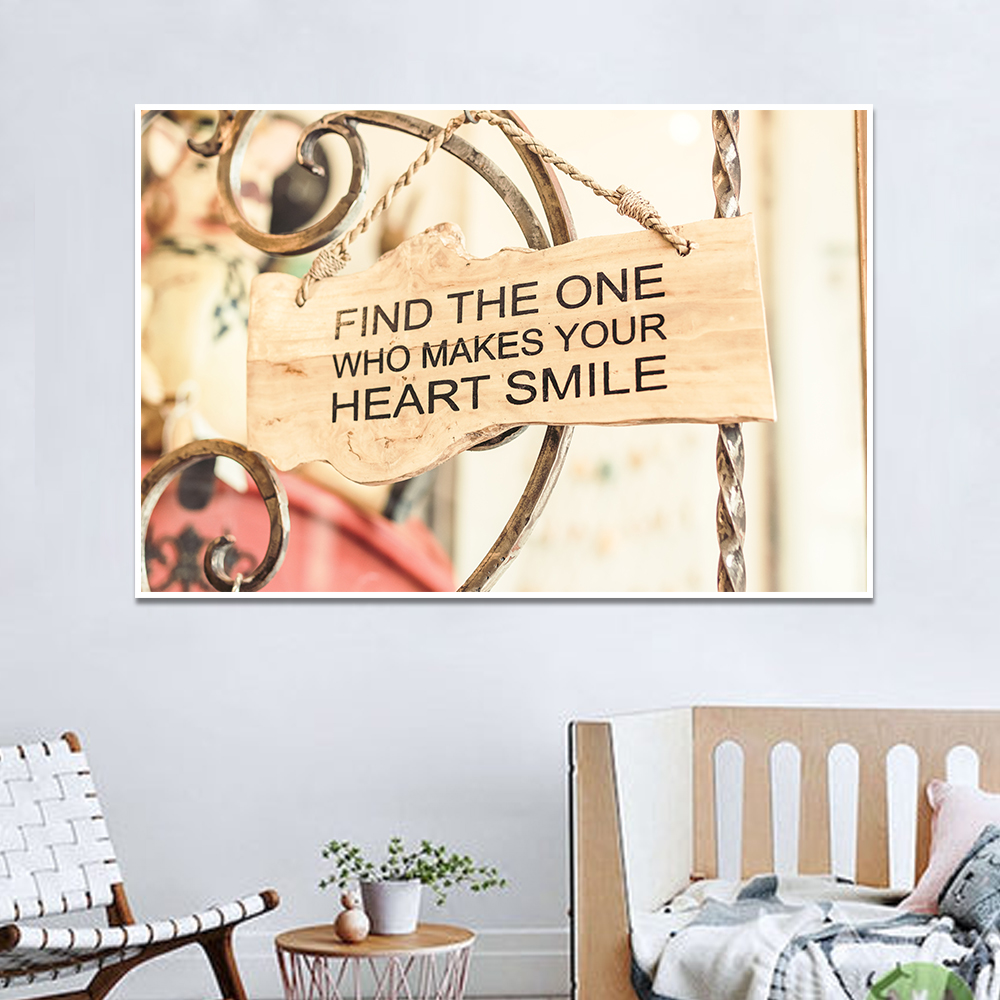 Unframed Canvas Print Painting Quotes Find The One Who Makes Your Heart Smile Posters Wall Picture For Living Room Home Decor