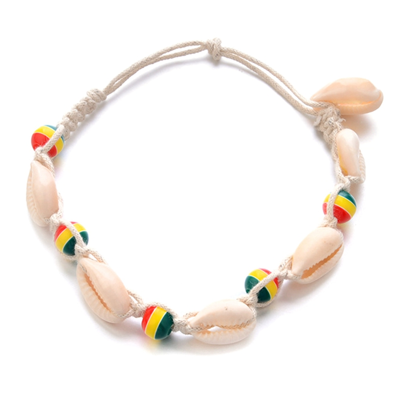 Vintage DIY Rope Rainbow Bead Ankle Bracelet Natural Shell Bohemian Anklet Women Foot Jewelry Summer Beach Holiday Accessories