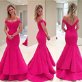Robe De Soiree 2017 Fuchsia Evening Dresses Long Mermaid Style Taffeta Sexy Off-the-shoulder Party Formal Gowns Custom E1609