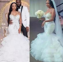 Роскошные свадебные платья Русалочки 2020 без бретелек со шнуровкой