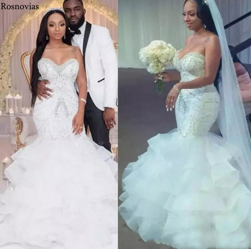 Luxury Mermaid Wedding Dresses 2020 Strapless Lace Up Back Sweep Train Beaded Crystal Plus Size Bridal Gowns Robe De Mariée