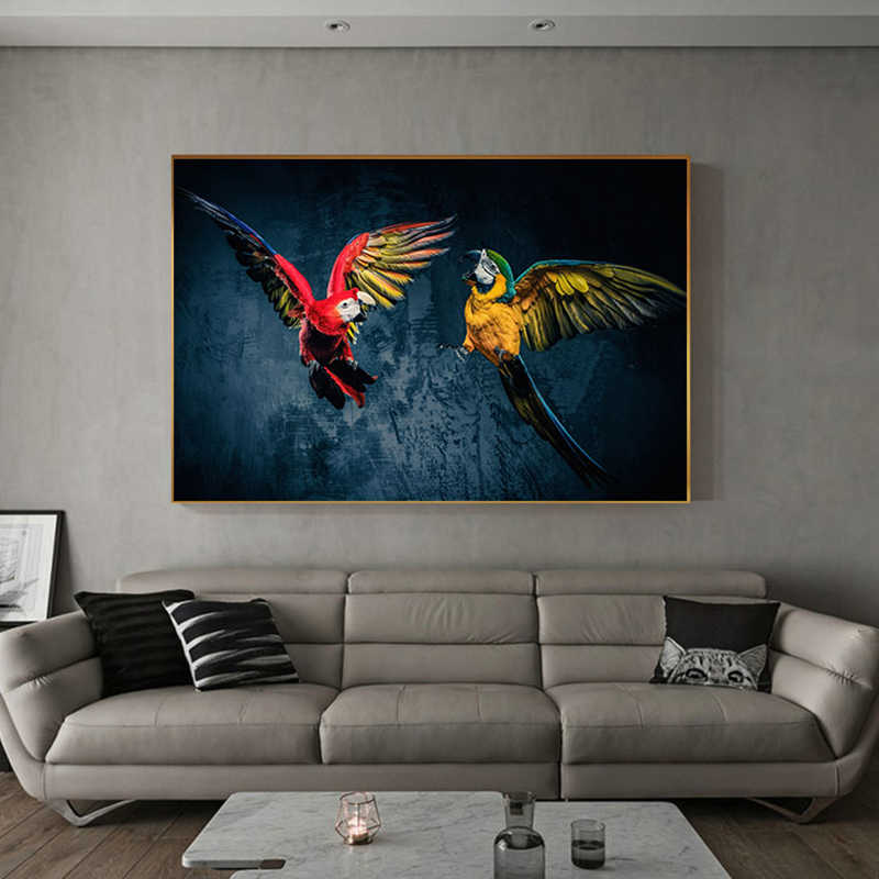 Modern Home Art Wall Pictures for Living Room Aisle Yellow Blue Flying Parrot Canvas Painting Abstract Animal Poster Print