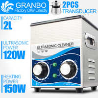 Granbo Portable Ultrasonic Jewelry Cleaner 2L 120W Cleaning Machine Bath With Heater Timer Cleaning Jewelry Glasses Dental