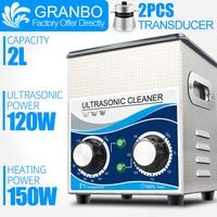Granbo Tragbare Ultraschall Schmuck Reiniger 2L 120W Reinigung Maschine Bad Mit Heizung Timer Reinigung Schmuck Gläser Dental-in Ultraschall-Reiniger aus Haushaltsgeräte bei