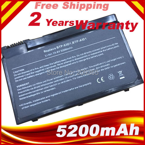 Batería para Acer 5022 WLMi 5024 LMi Aspire 5020 3022 LMi BTP-63D1 BTP-96H1 BTP-98H1 BTP-AFD1 BTP-AGD1 BTP-AHD1 BTP-AID1