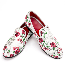 Men loafer Shoes New Style roses with skull print Smoking Slipper Men shoes size 5-17 Free shipping