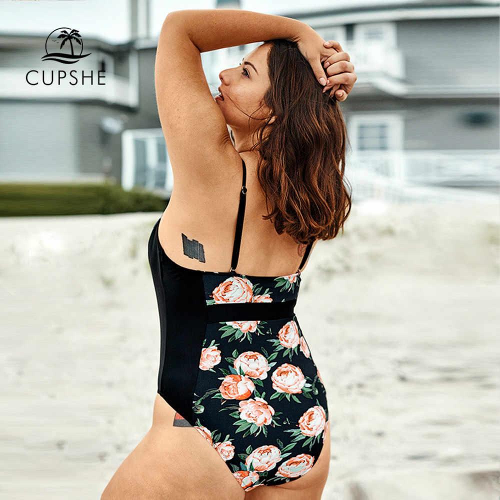 CUPSHE размера плюс Цветочный принт с v-образным вырезом Одна деталь купальника Для женщин пикантные сетчатые Монокини Купальники 2019 пляжная одежда для купания для девочек