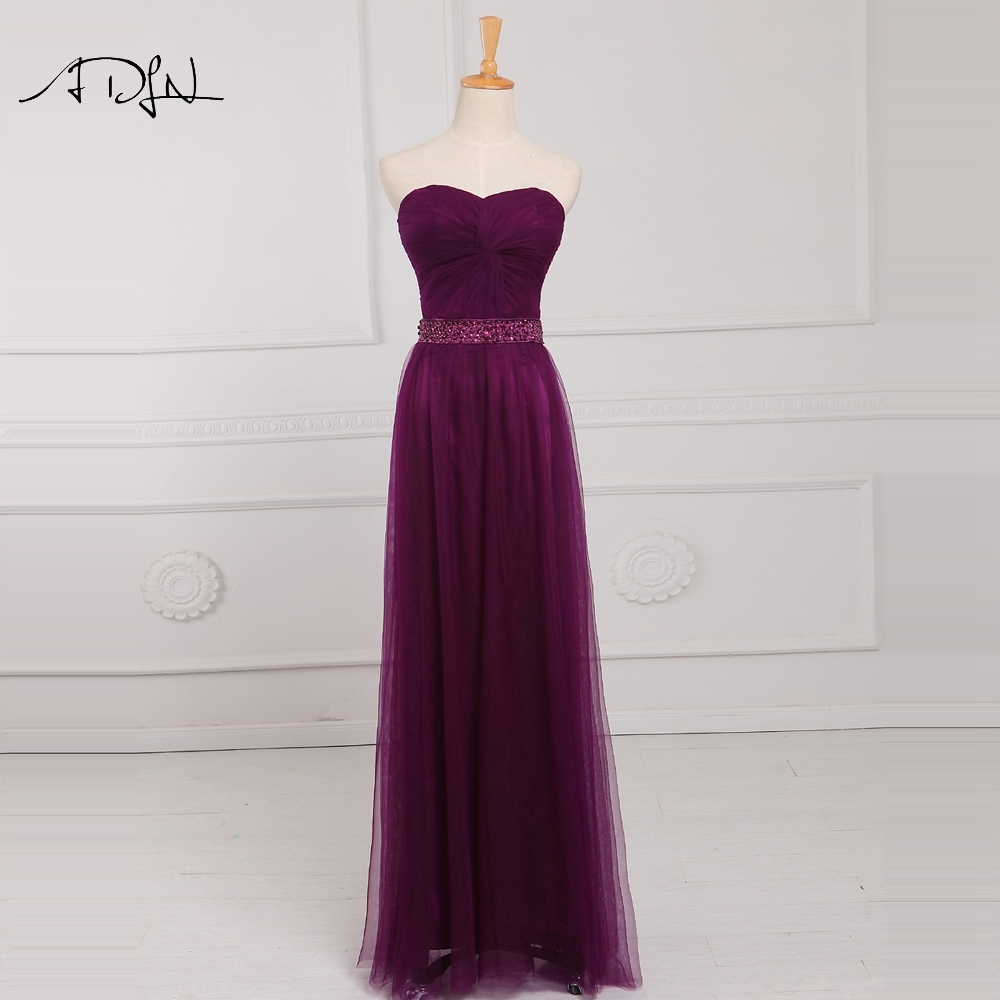 ADLN 2019   Bridesmaid     Dresses   Long Robe Demoiselle d'Honneur Sweetheart Tulle Beaded A-line Formal   Dresses   for Wedding Party
