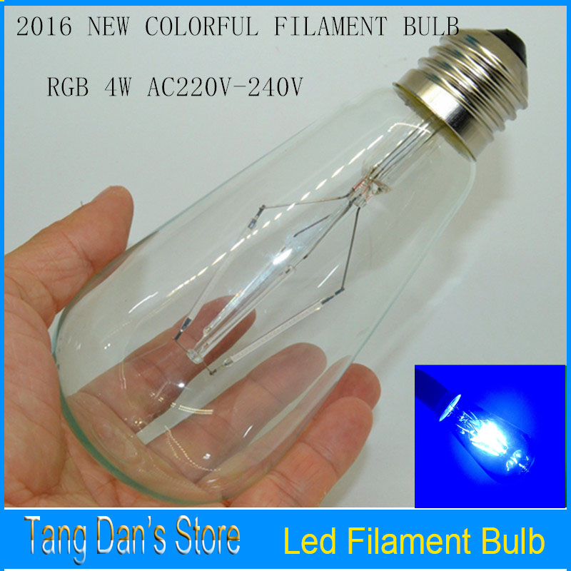 Edison Light Bulbs AC220V 4W E27 LED Filament Light BulbTransparent Glass Bulbs Retro 100X Energy Saving RGB ST64