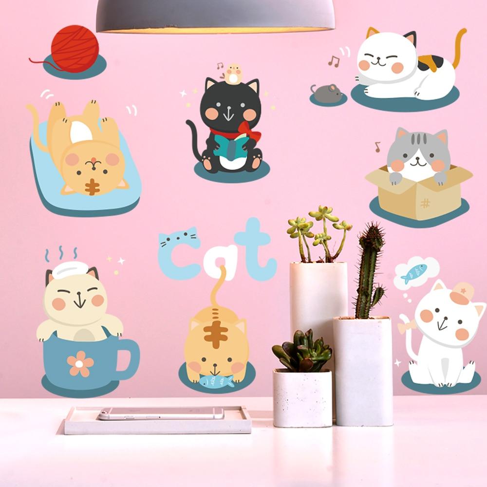 Cartoon cute cat wall stickers for kids bedroom decoration - Childrens bedroom wall stickers removable ...