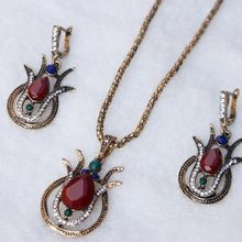Luxury Vintage Wedding Jewelry Sets Color Gold Turkey Crystal Roses Earring And Pendant Necklace For Women party gift