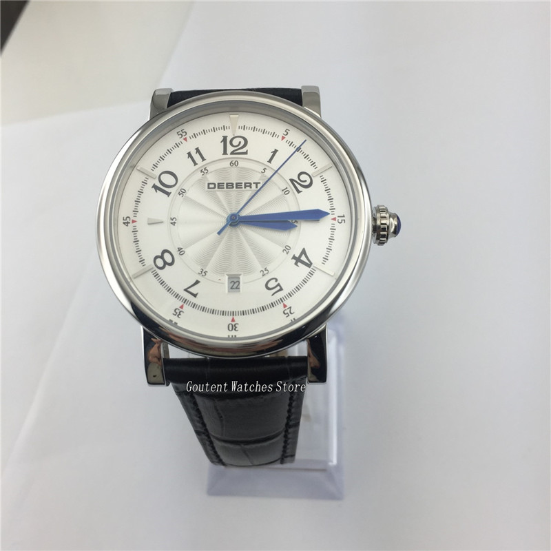 43mm Mens Watch Debert Sliver Stainless Steel Case Black Band Automatic Wristwatch