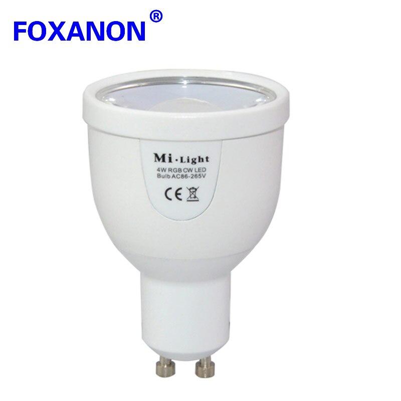 100% Original Mi lumière 2.4G 85-265 V Dimmable 4x GU10 4 W Wifi RGB LED ampoule Bablle + 1x 4 zones télécommande lampe éclairage