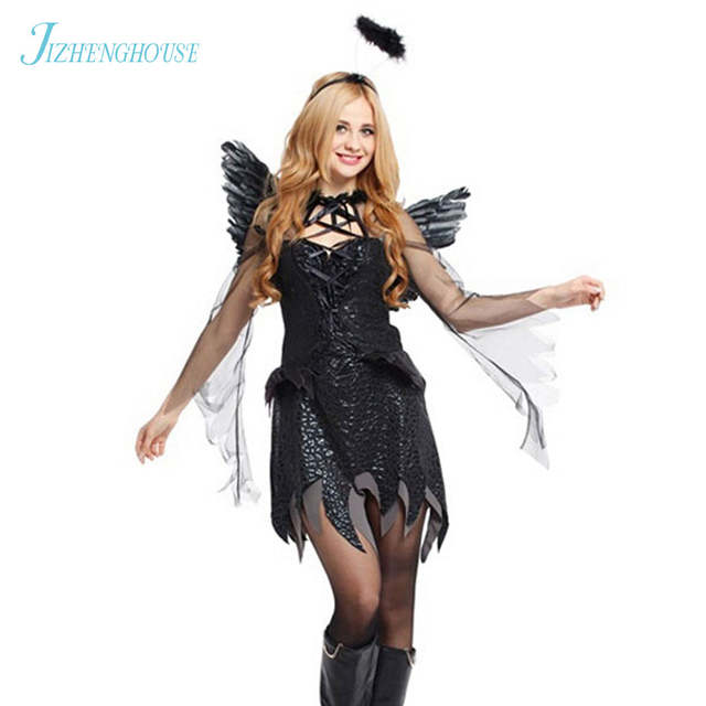 03778a8f305c placeholder JIZHENGHOUSE Adulto Fallen Angel Costume Angelo Nero Vestito Da  Partito Sexy Adulti Costumi di Halloween per