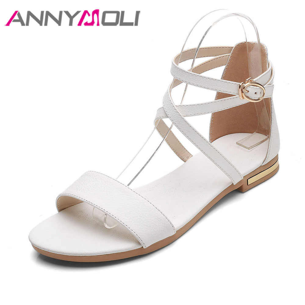 4993b546aa6 ANNYMOLI Shoes Women Sandals Orignal Leather Shoes Summer Flats Sandals  Ankle Cross Strap Sandals Large Size 46 White Black Flat