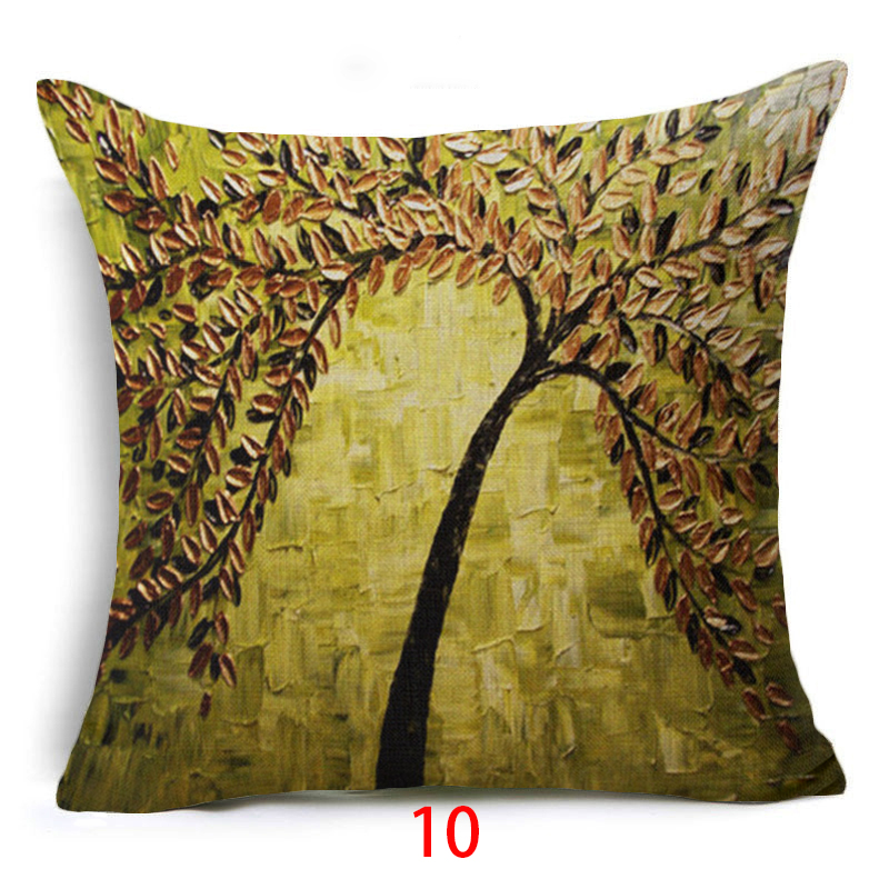 Fashion Oil Painting Style Cushion Cover 100% Flax Colorful Trees Flowers Simple Shape Pillows Cover Nordic Simple Brand Pillow Cushion Cover Table & Sofa Linens
