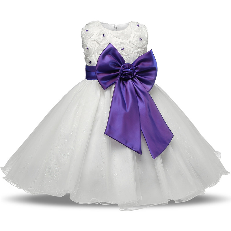 Baby Girl Formal Events Party Dress Fluffy Flower Girl Wedding Gown Children's Fancy Dresses Girl Frocks Bow in Sashes Kid Dress