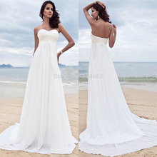 Ivory Sweetheart Beaded Empire Chiffon Wedding Dresses Beach Bridal Gowns 2014 Free Shipping Custom Made