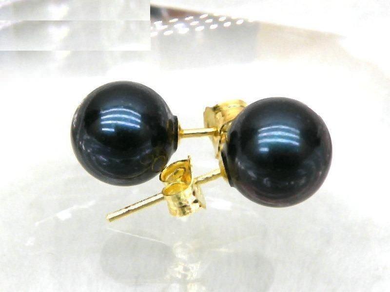 Livraison gratuite parfaite ronde noire 10-11 MM AAA perle d'eau douce boucle d'oreille 14 k/20