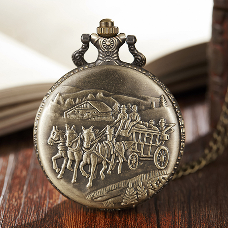 Ancient Carriage Pocket Watch Fob Chain Necklace Train Horse Engrave Mens Flip Bronze Watch Hour Time Clock For Men Women Gifts