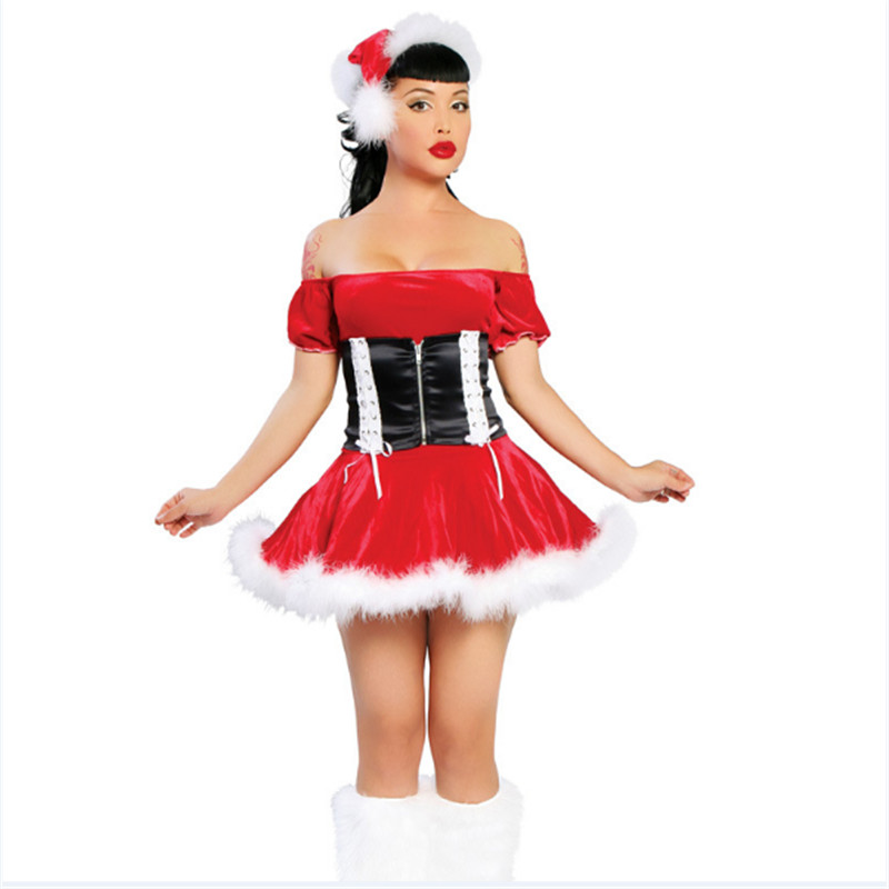 2017 New Word shoulder Red dress white flash Velvet Santa Claus Adult Girls Xmas Party Outfit