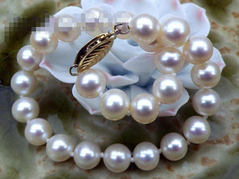 "Selling >> BEAUTIFUL 7.5-8mm AAA+ round white akoya pearls bracelet 7.5"" Fashion Picture"