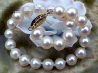 Selling >> BEAUTIFUL 7.5 8mm AAA+ round white akoya pearls bracelet 7.5 Fashion Picture