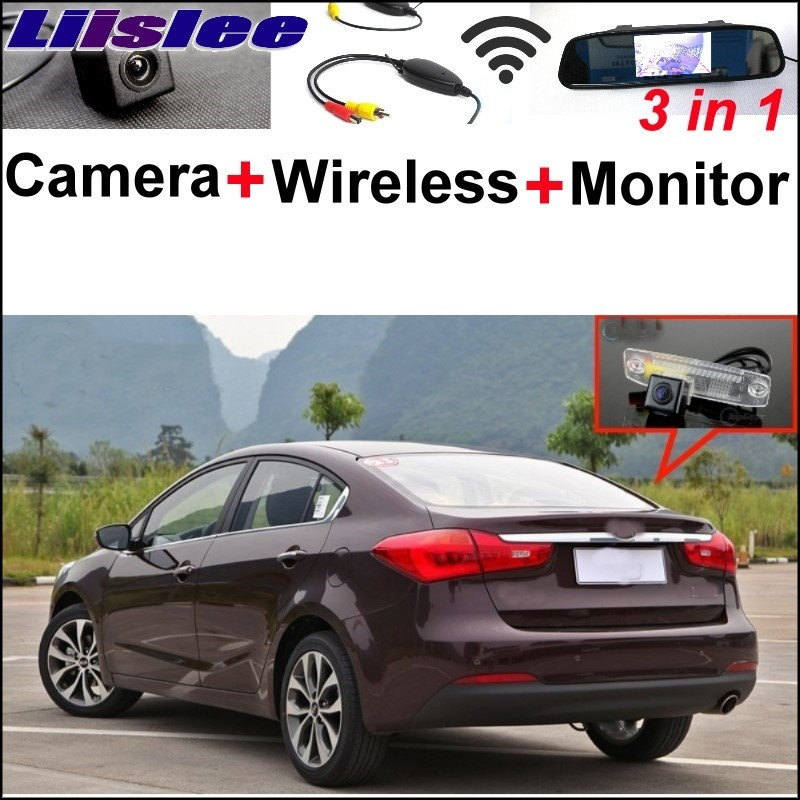 Liislee 3 in1 Special Rear View Camera + Wireless Receiver + Mirror Monitor Parking System For KIA Forte K3 Cerato 2012~2017 kerui wireless pir motion sensor detector touch keypad panel gsm pstn home house security burglar voice alarm system