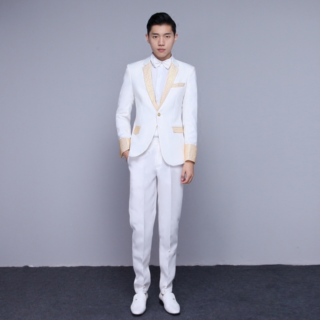 Aliexpress.com : Buy suit annual dress suits gold stage host ...