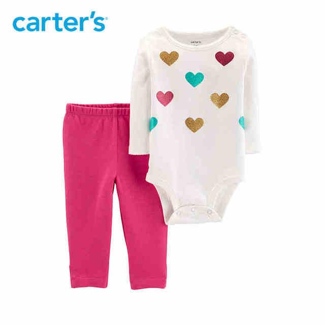 d52031d4c Carters 2 Piece Sparkle Heart Bodysuit Pant Set Baby girl clothes ...