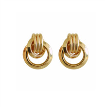 Fashion and contracted pure fresh female metal knot geometric design tide students stud  earrings exquisite jewel