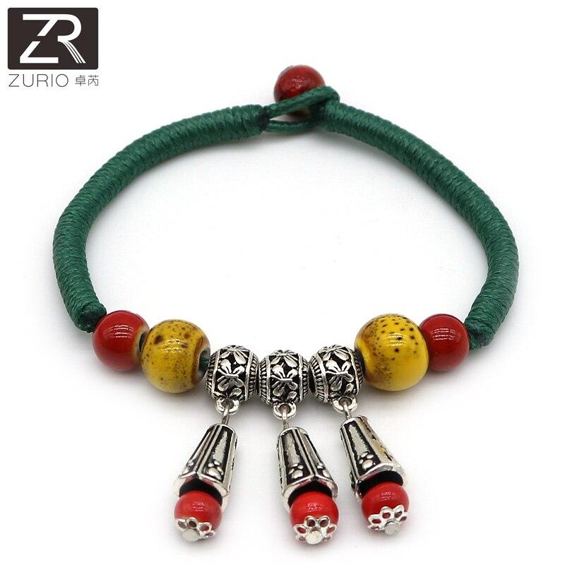 Zurio Jewelry Blue Women's Ceramic Bracelets Vintage Thai Silver Handmade Accessories Traveling Memento Souvenir Wholesale