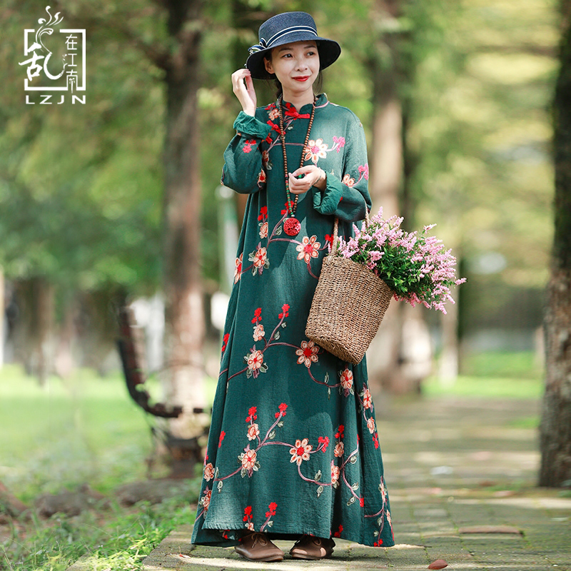 цены LZJN Spring Women Dress Chinese Style Tunic Embroidery Floral Cotton Dresses Vintage Robe Femme Long Sleeve Maxi Dress 1860