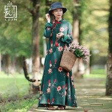 7956a7e1c8b156 LZJN Frühling Frauen Kleid Chinesischen Stil Tunika Stickerei Floral  Baumwolle Kleider Vintage Robe Femme Langarm Maxi