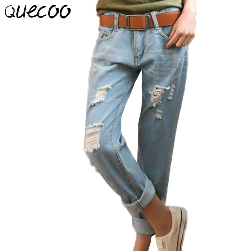 QUECOO 26 34 2017 spring and summer new jeans women loose loose large size mm fashion