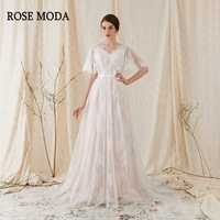 Rose Moda Chantilly Lace Boho Wedding Dress V Neck Short Flare Sleeves Low V Back Bohemian Wedding Dresses 2018
