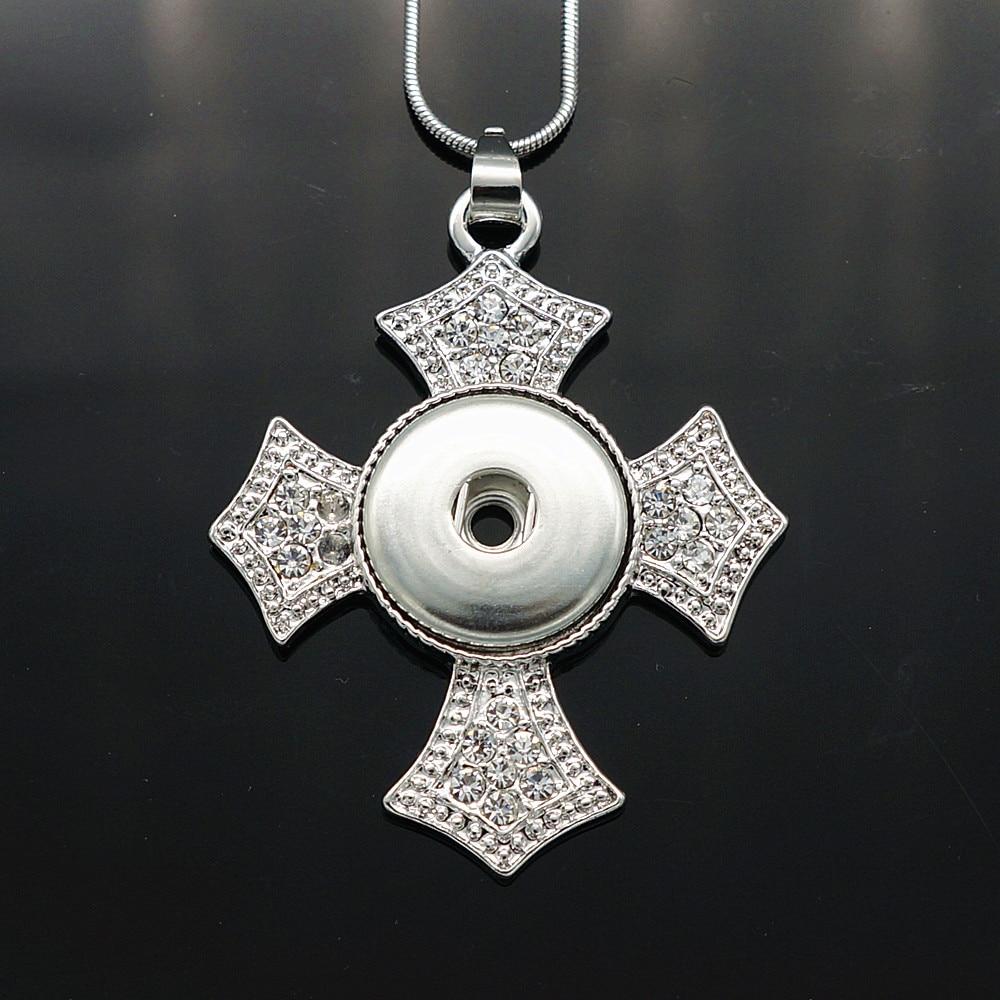 690500a37982 Nueva XL0030 Cruz del rhinestone del encanto serpiente cadena collar 60 cm  DIY 18mm encanto botones jewlery al por mayor
