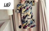 L&Y Fashion Camouflage Drawstring Hooded Long Tshirt Dress Women Short Sleeve Plus Size Loose Fit Casual Dress Summer Vestidos