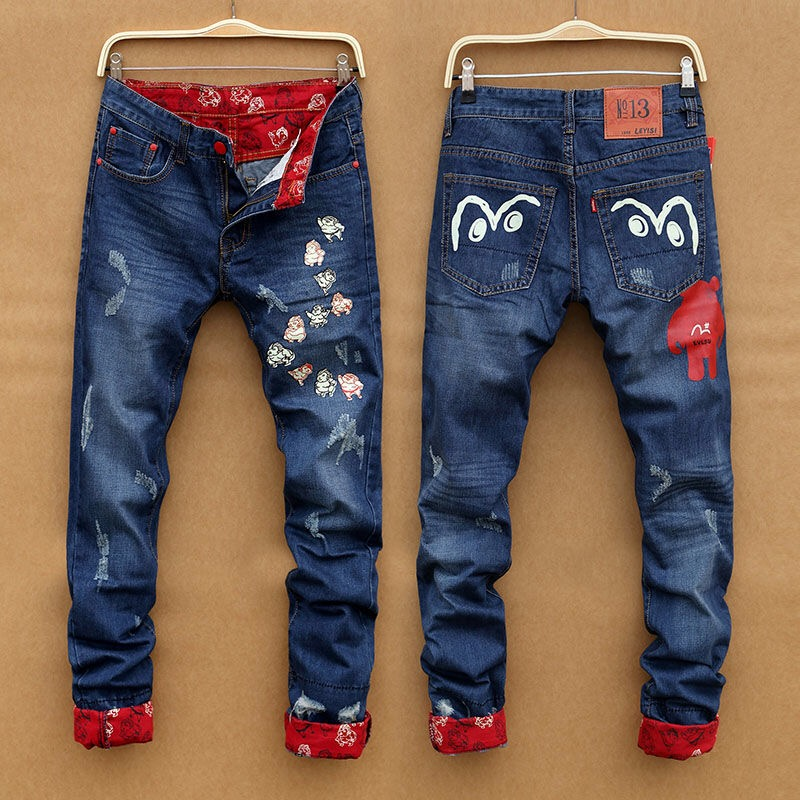 2019 Genuine Evisu Men's Casual Breathable High Quality Jeans Men's Tide Brand Embroidery Straight Print Zipper Men's Trousers