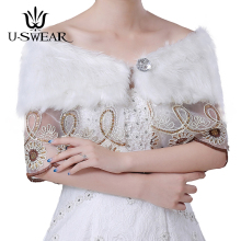 U-SWEAR 2018 New Arrival Faux Fur Flora Lace Patch Work Women Wedding Jackets Bridal Wraps Shawls Diamond Accessories