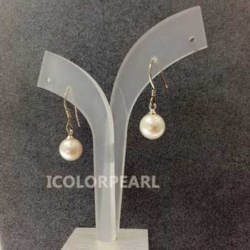 WEICOLOR Pretty 8-9mm Round White/Pink/Purple/Grey Natural Freshwater Pearl Drop Earrings With 925 Sterling Silver Hooks.