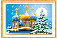 5d Diy Diamond Painting Christmas Tree Castle Mosaic Round Diamond Embroidery Needlework Cross Stitch Resin Diamond