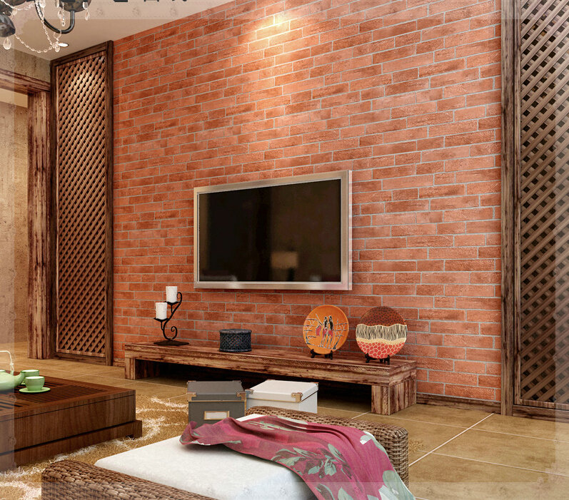 Brick Style Wallpaper Part - 45: Korea Modern Minimalist High Imitation Brick Pattern Brick 3D Living Room  Wallpaper Covered The Television Background Wallpaper-in Wallpapers From  Home ...