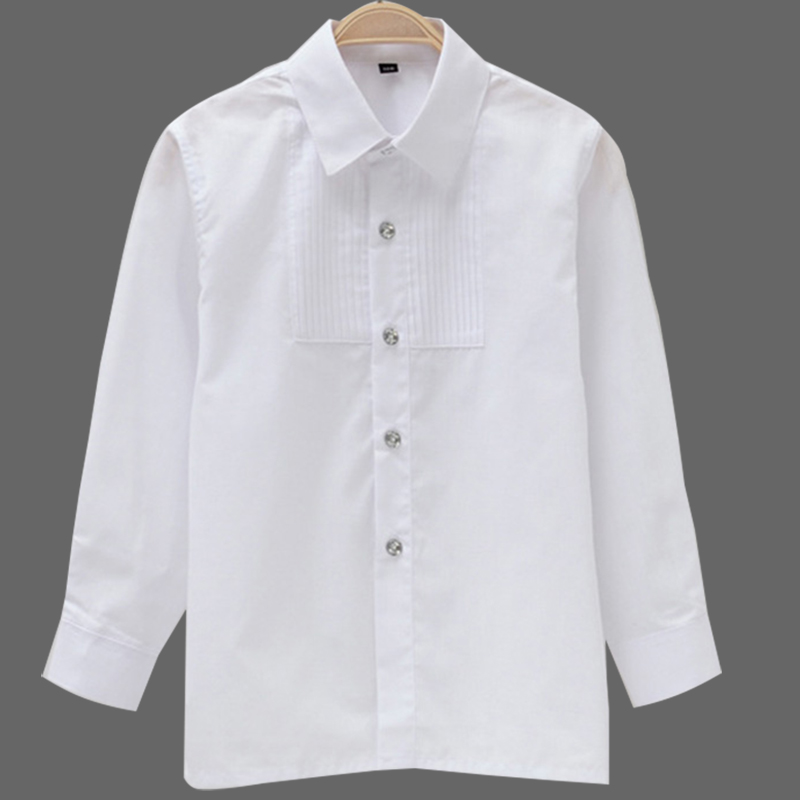 Boys White Full Sleeves Shirt Children Formal Shirts Kids Long Sleeves Shirts Boys' Attire Party Wedding performance costume