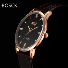 BOSCK Fashion Waterproof Mens Watches Top Brand Luxury Famous Male Clock Ultra Thin Leather Quartz Wrist Watch Relogio Masculino