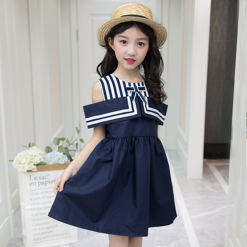 Summer Kids Dresses Off Shoulder Military Girls Dress 3 4 5 6 7 8 9 10 11 12 Years Sleeveless Baby Girl Casual Clothes Big Girls kids 2017 new summer big flower chiffon girl dress sleeveless solid color dress 3 4 5 6 7 8 9 10 11 12 years baby girl clothes