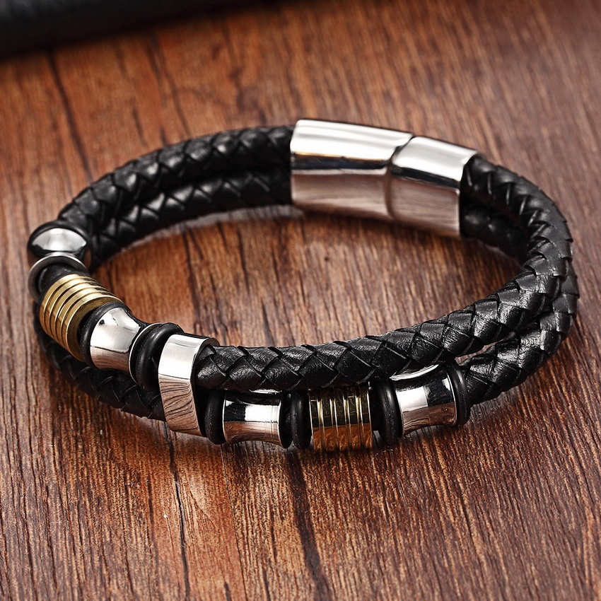 XQNI Genuine Leather Bracelet Double Layer For Men