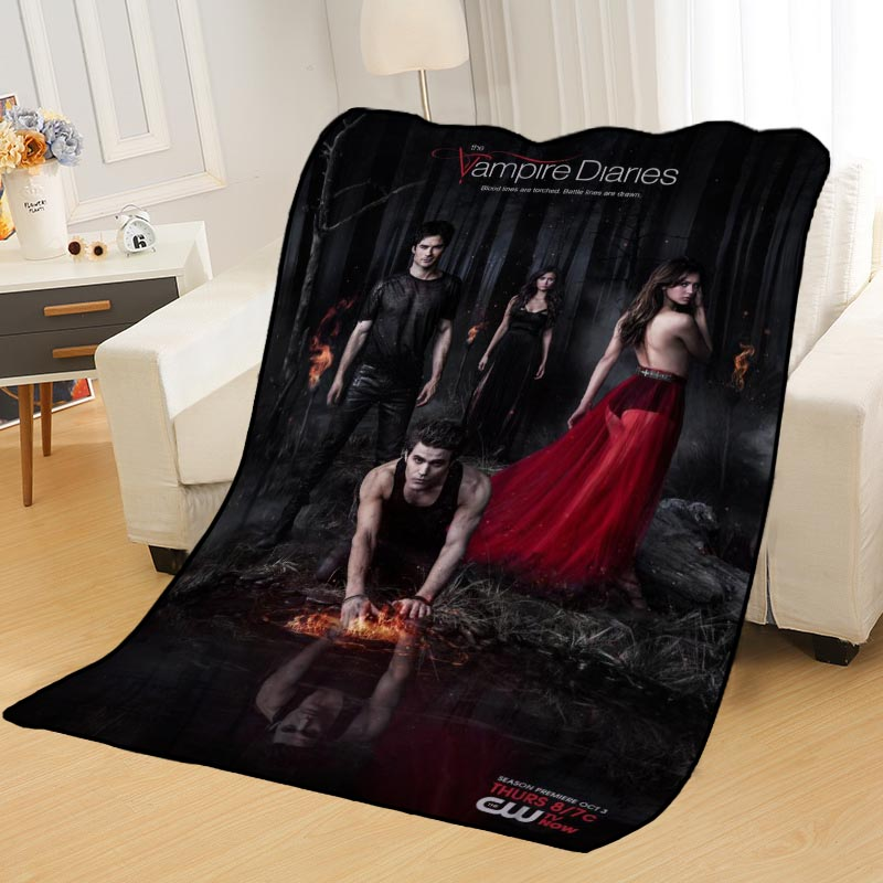 Personalized Blankets Custom Vampire Diaries Blankets Soft TR DIY Your Picture Decoration Bedroom Throw Rug Travel Blanket
